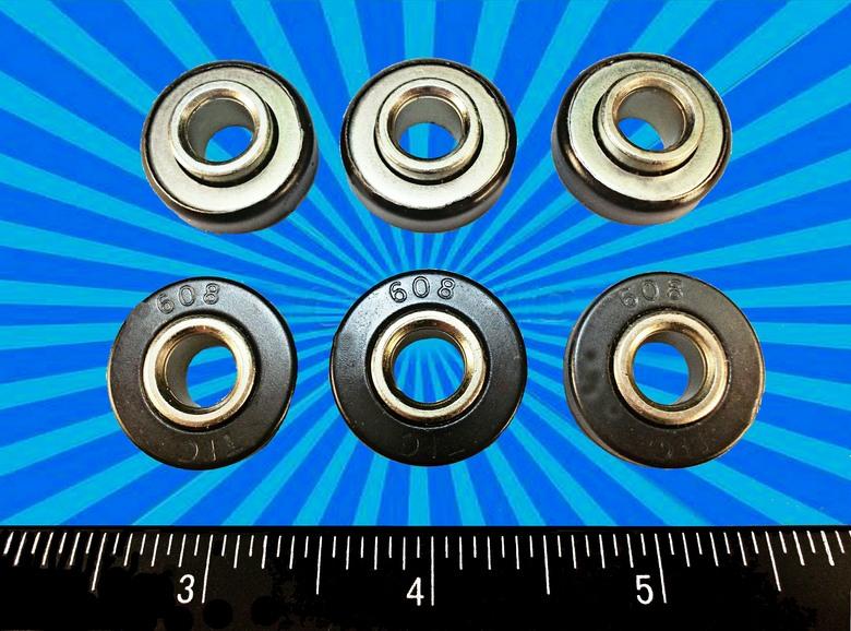 SWITCH BLACK BEARING no grease 8pcs 608-2RS Skate Bearings 8x22x7mm